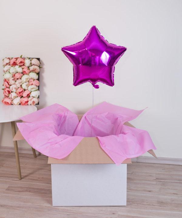 Balon różowa gwiazdka z helem w pudełku – Czary Alicji