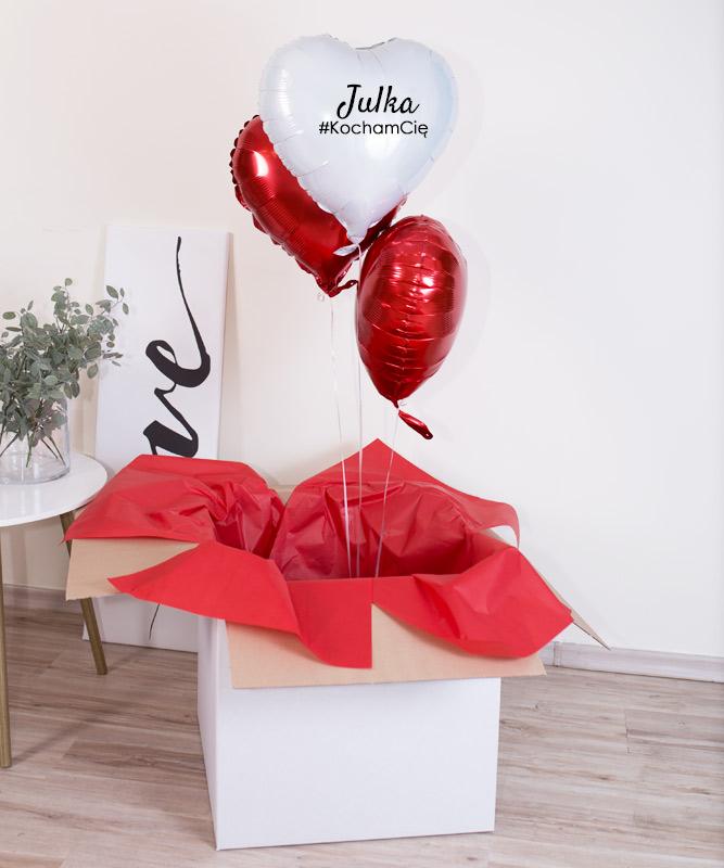 Balony w pudełku z helem – 3x serce #KochamCię