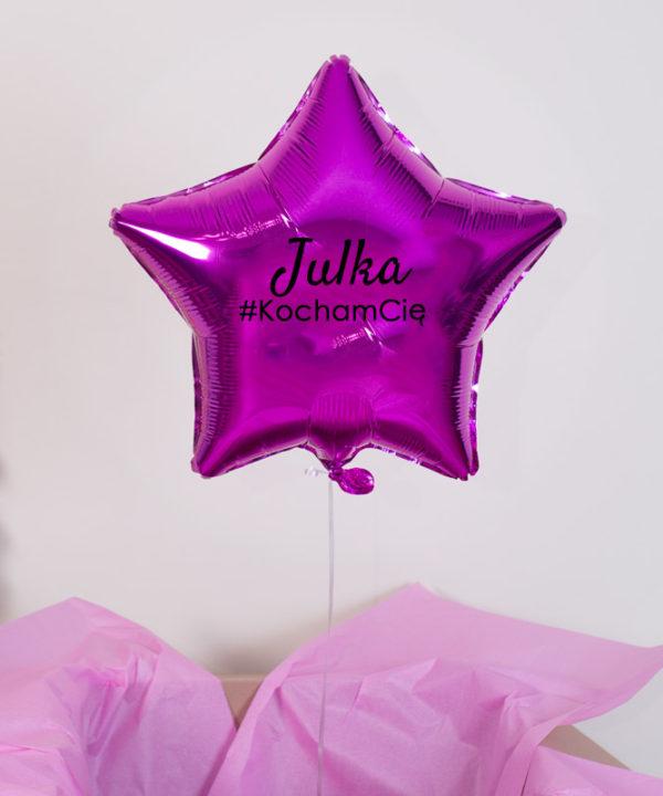 Balon różowa gwiazdka z helem w pudełku – #LoveForEver