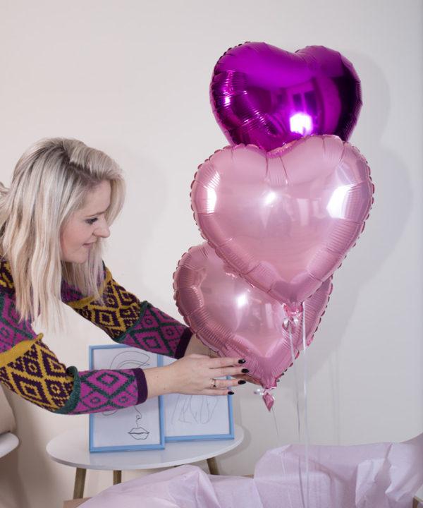 Trzy różowe balony w pudeÅ'ku – Różowe Trio