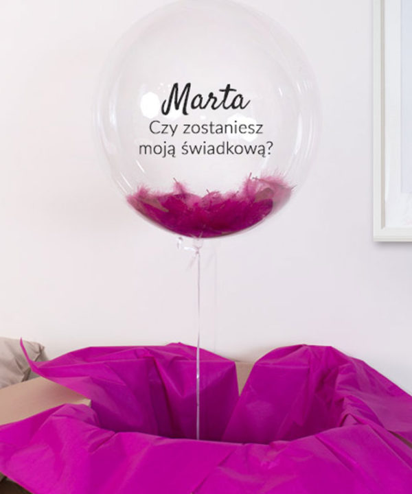 Balon kula z różowymi piórami i helem – Czy zostaniesz moją świadkową?