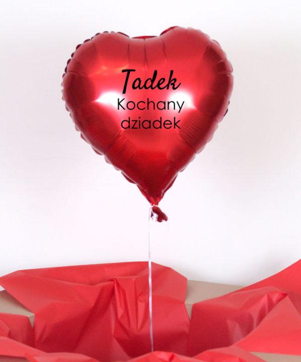 Balon serce z helem oraz napisem – Imię + Kochany dziadek