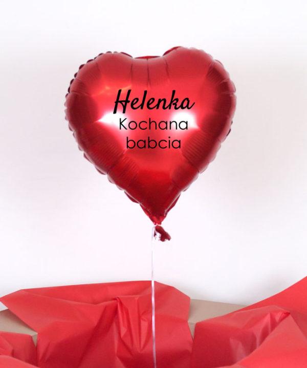Balon serce z helem oraz napisem – Imię + Kochana Babcia