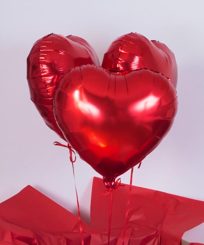 Balony z helem w pudełku – Trzy krople miłości