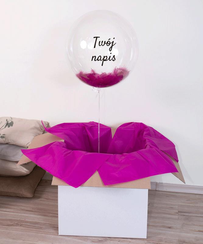 balon z helem z własnym napisem