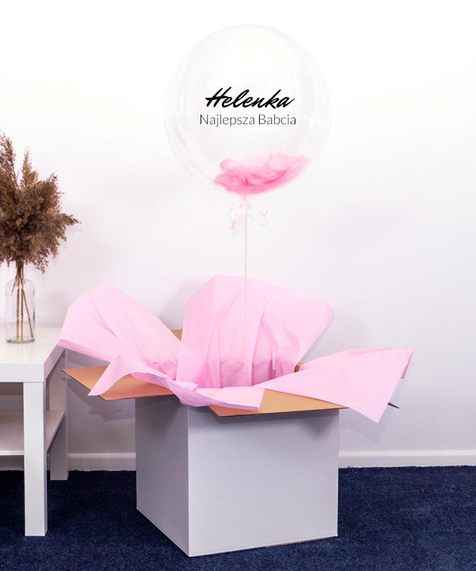Balon z napisem dla Babci w pudełku – Różowe Życzenia