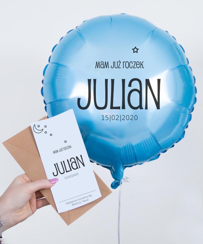 Balon z helem oraz kartką – Mam już roczek