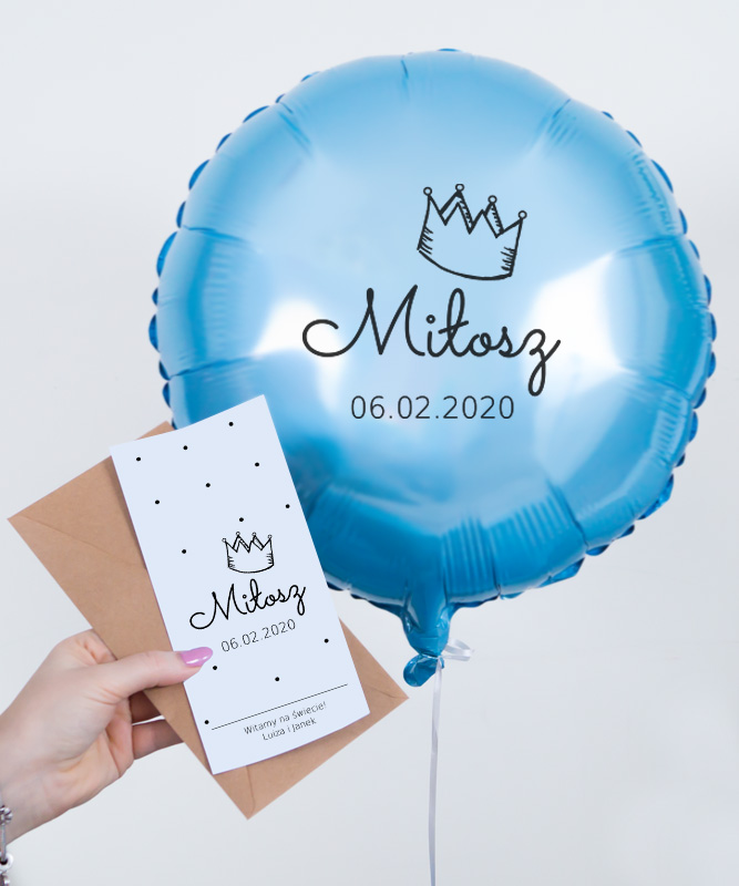 balon z kartką na prezent dla chłopca