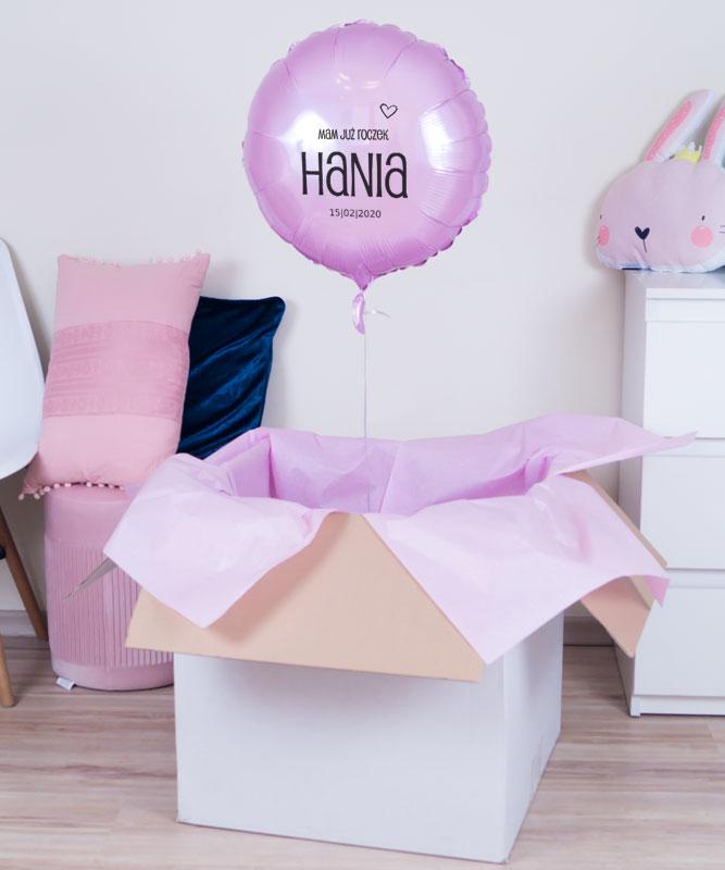 Balon z helem oraz kartką – Pierwsze urodziny