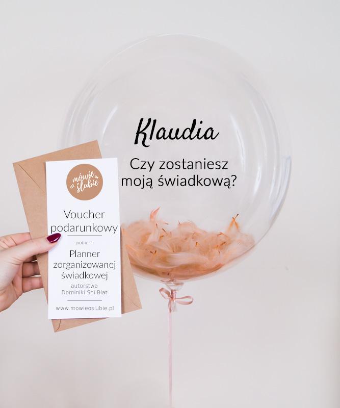 Prośba o świadkowanie – balon z helem i plannerem