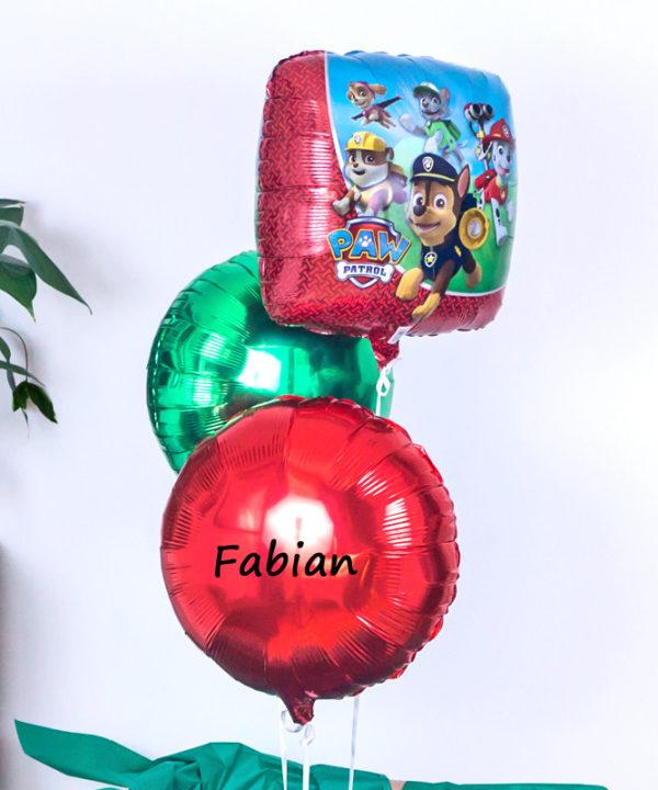 Balonowy zestaw w pudełku – Psi Patrol + imię
