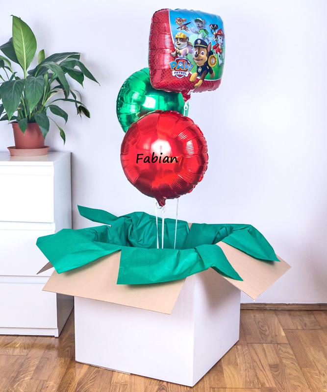 Balony psi patrol w pudełku na prezent