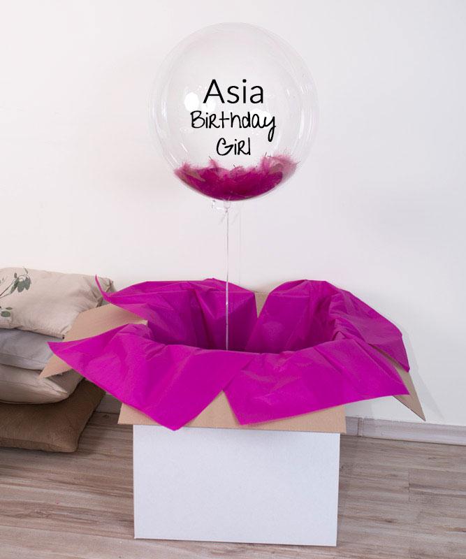 Balon w pudełku na urodziny – B-day Girl + imię