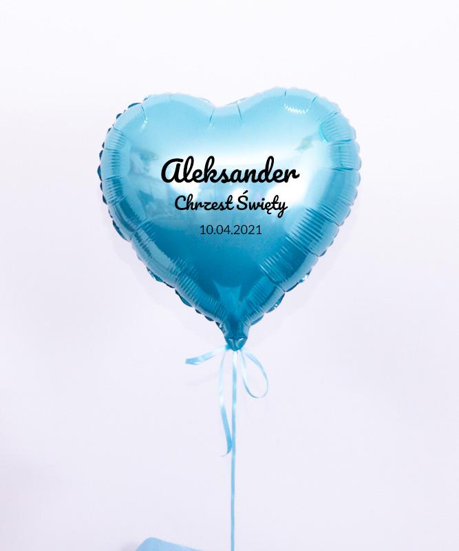 Niebieski balon z helem w pudełku na Chrzest – Blue Wish