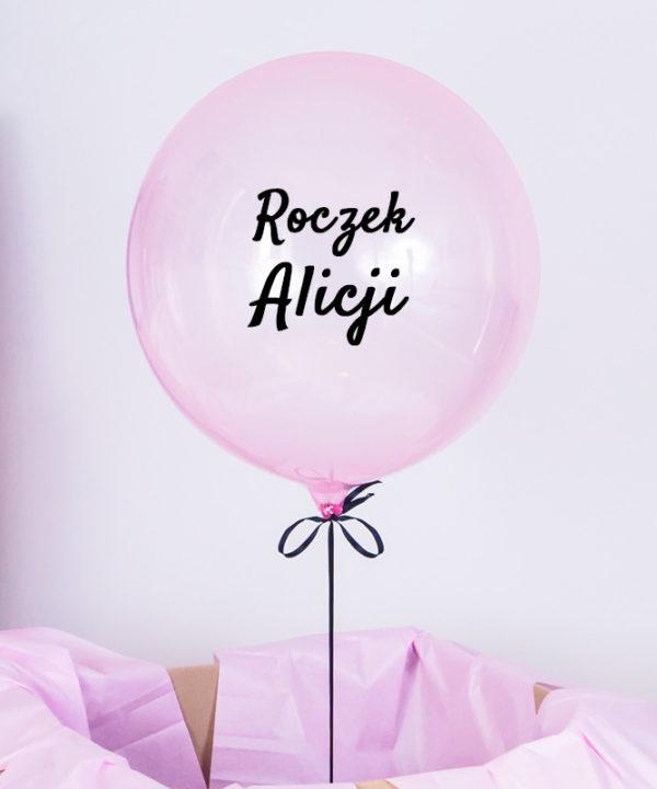 Balon z helem w pudełku na roczek – Różowa Kula