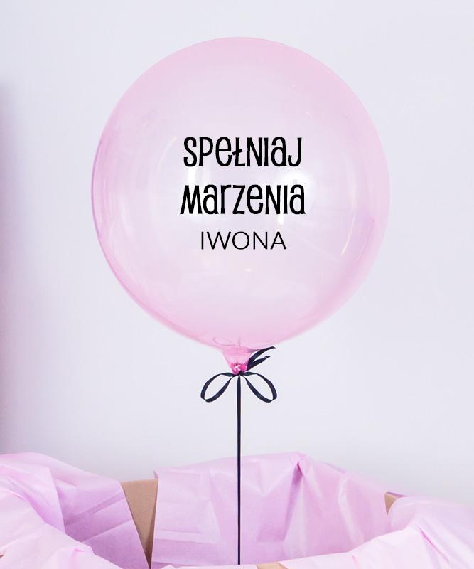 różowy balon z imieniem