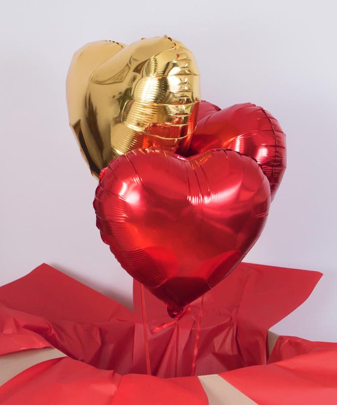 Balony z helem w pudełku – Czerwone złoto
