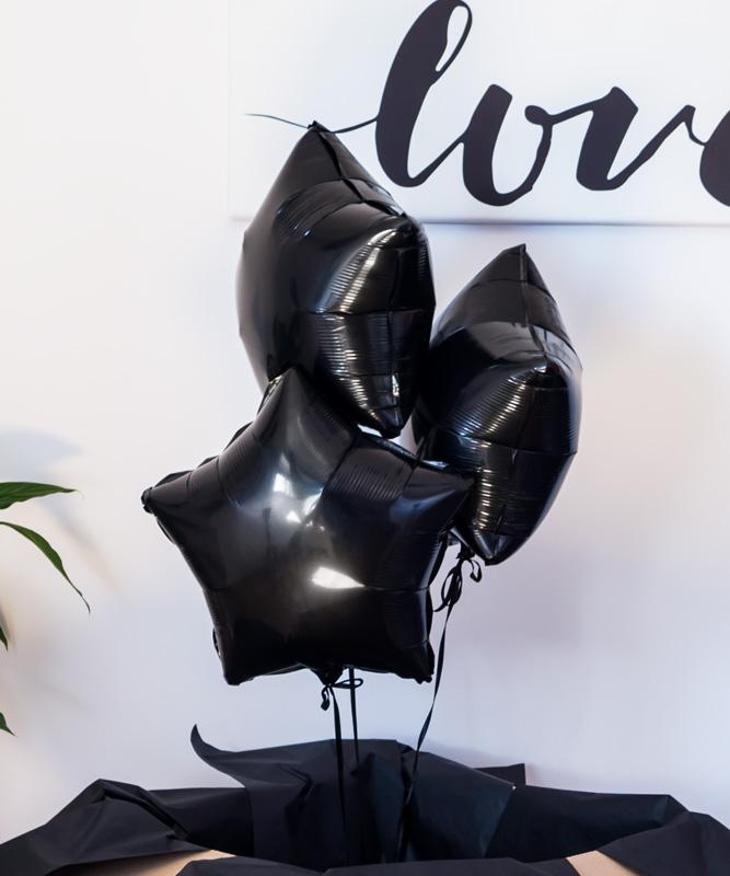 Zestaw balonów z helem w pudełku – Black Stars
