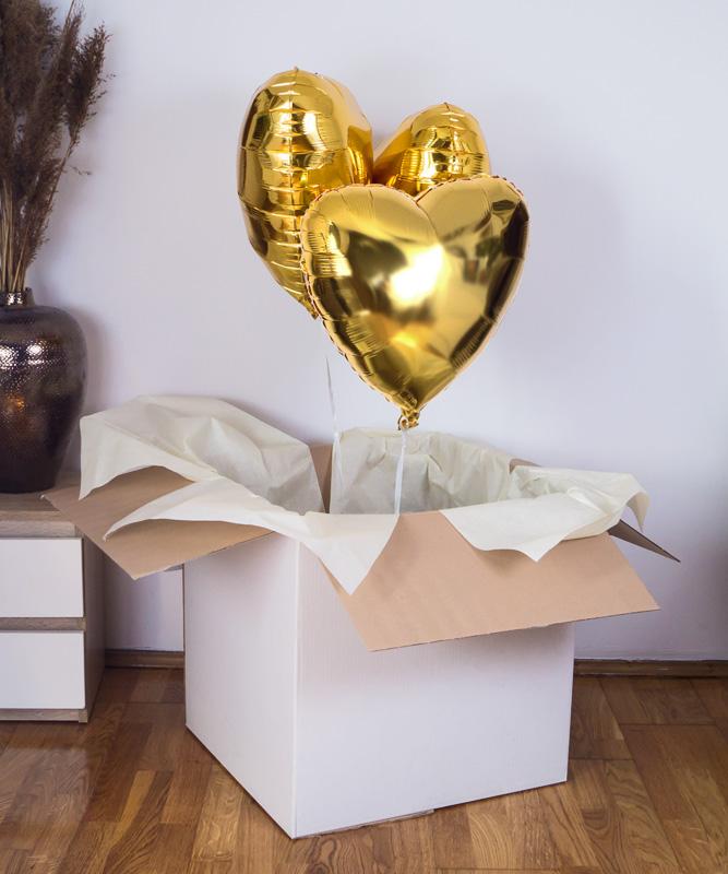 Zestaw trzech balonów z helem w pudełku – Złote trio