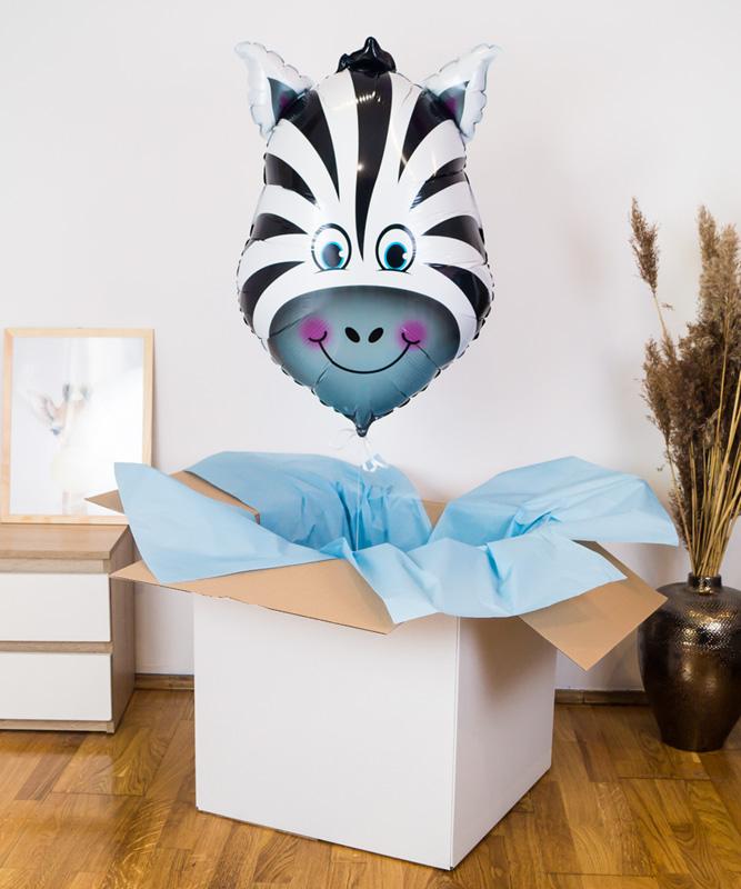 Balon wypełniony helem w pudełku – Wesoła Zebra