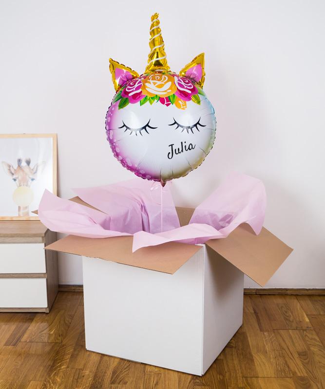 Personalizowany balon w pudełku – Jednorożec