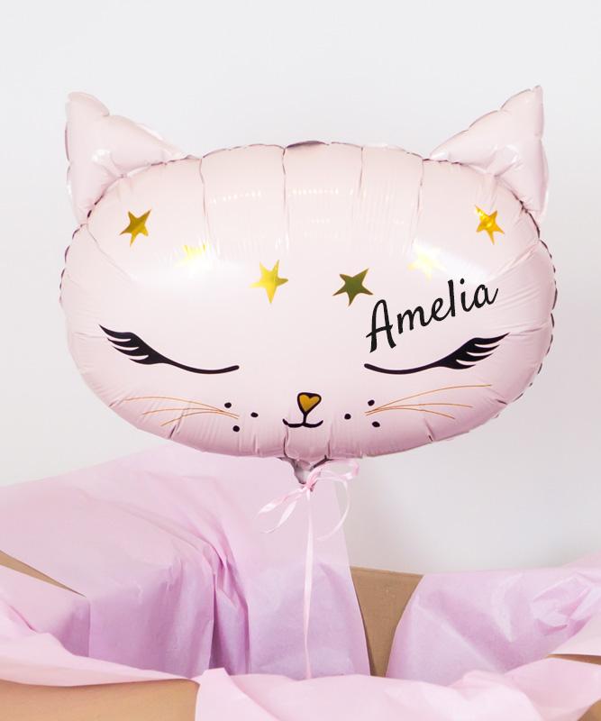 Balon z helem i imieniem dziecka – Kotek