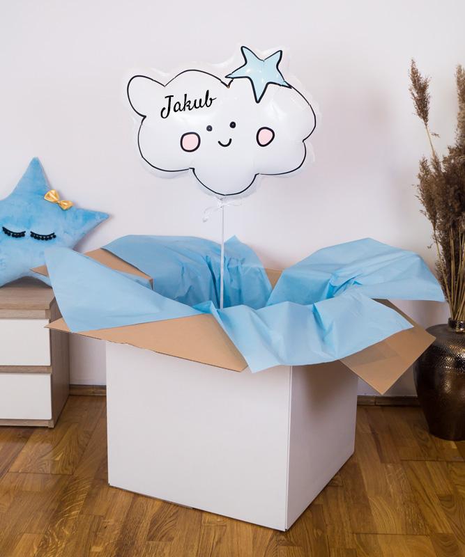 Personalizowany balon z helem – niebieska chmurka marzeń