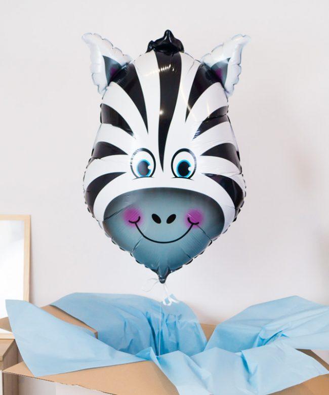 balon z helem zebra dla dziecka