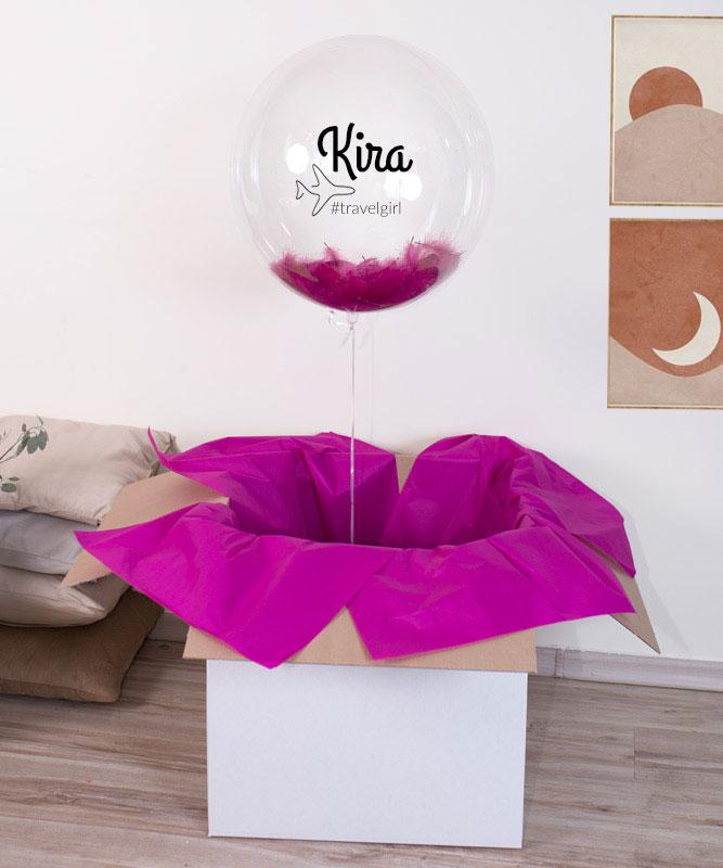 Balon z helem w pudełku dla podróżniczki – Travel Girl