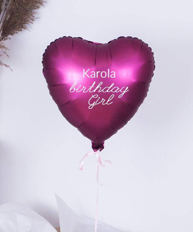 Balon serce z helem na prezent – Urodzinowa dziewczyna