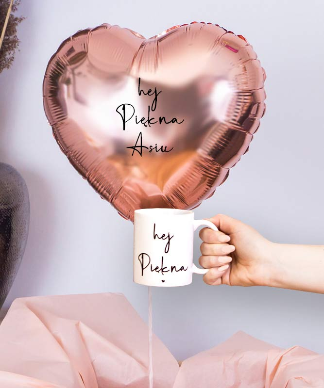 Balon z helem serce golden rose z kubkiem – Hej Piękna