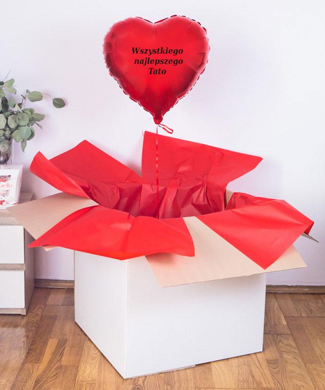 Balon serce czerwone z helem w pudełku na prezent  – Wszystkiego najlepszego Tato