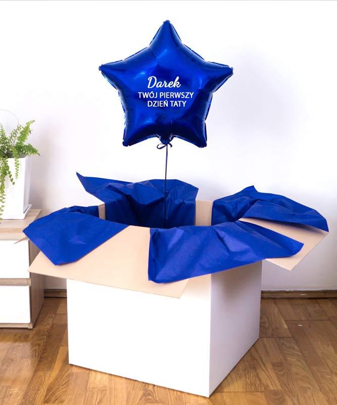Balon z helem w pudełku na prezent dla niego – Pierwszy Dzień Taty
