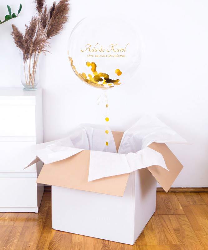 Balon z helem w prezentowym pudełku – Weselne Konfetti