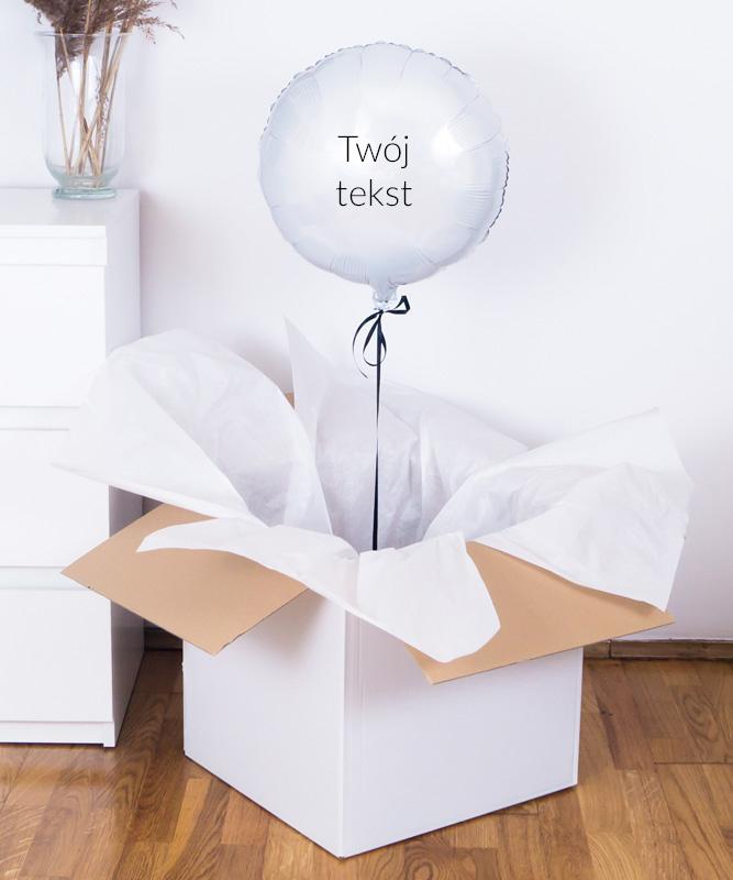 Balon białe koło z helem w pudełku z Twoim napisem