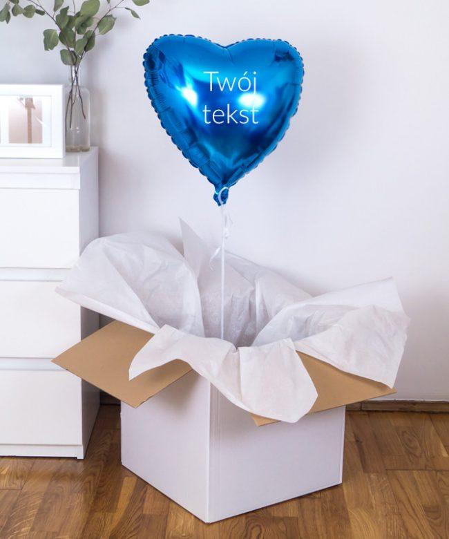 balon niebieskie serce z napisem