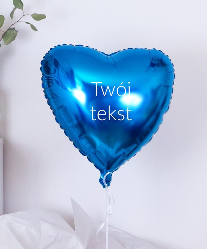 Balon niebieskie serce z Twoim tekstem w pudełku na prezent