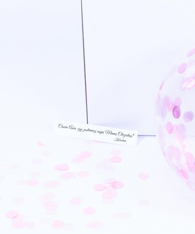 Prośba o bycie Matką Chrzestną – balon z wiadomością w środku