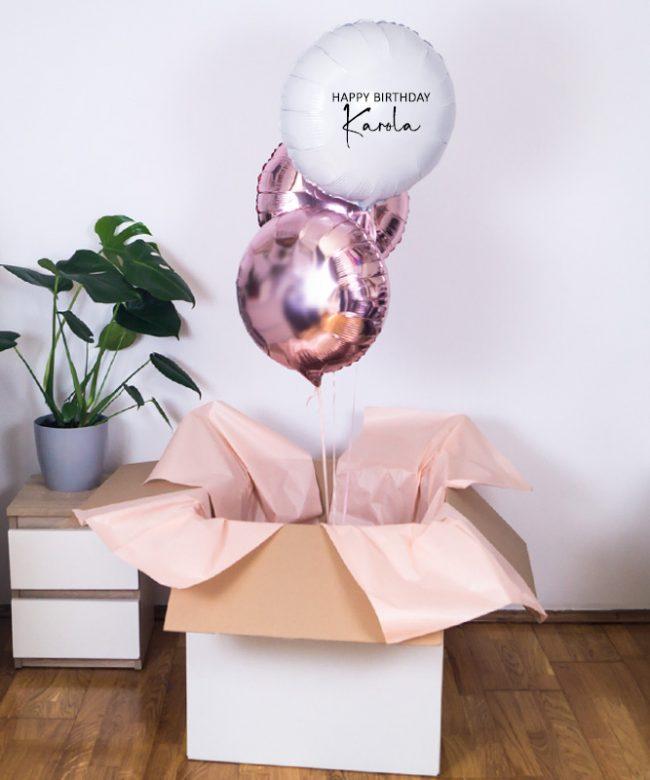 balony w pudełku na urodziny