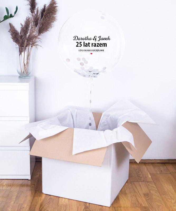 Przezroczysty balon z helem i konfetti –  Rocznica Ślubu
