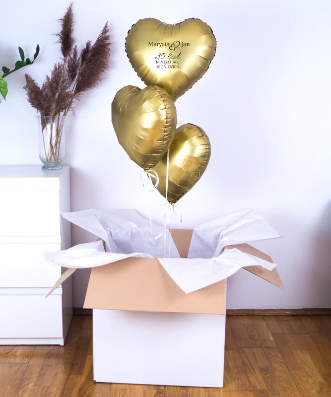 złote balony z helem na rocznicę