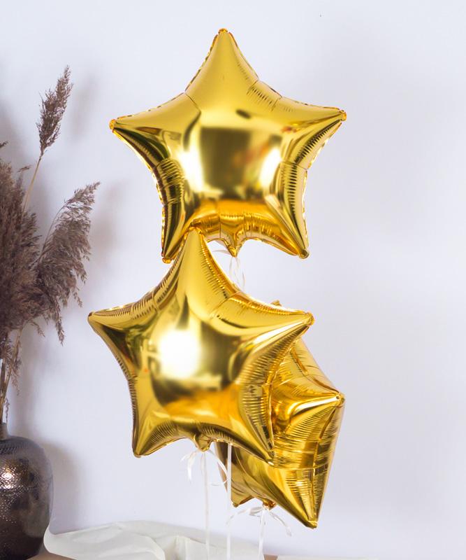 Balony z helem złote gwiazdki na prezent