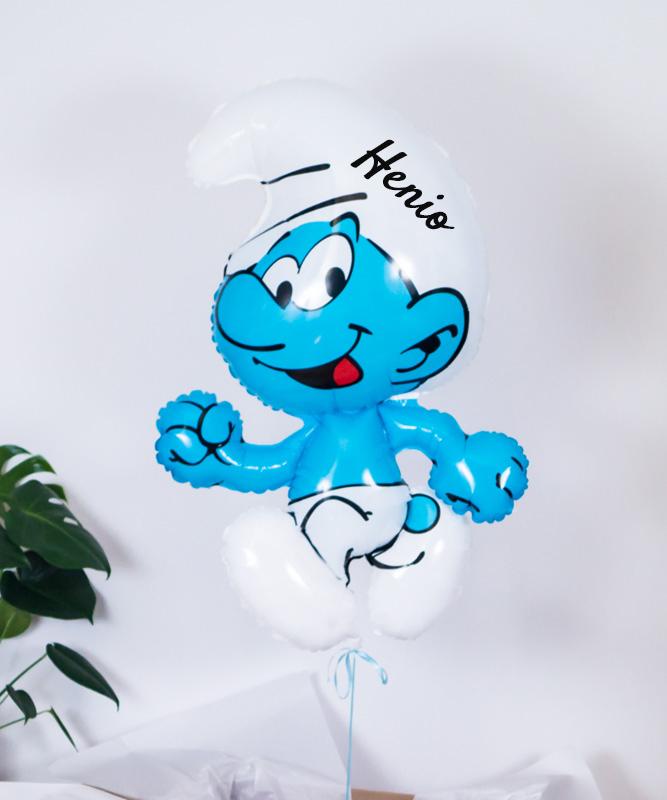 Balon z helem oraz imieniem dla dziecka – Smerf