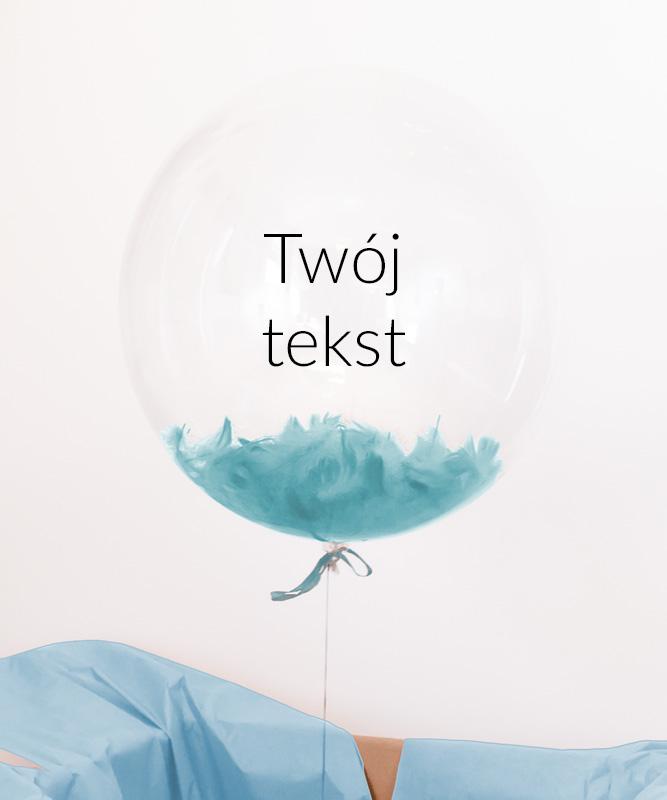 Przezroczysty balon z helem –  błękitna kula z Twoim napisem