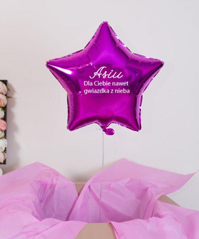 balon różowy z helem