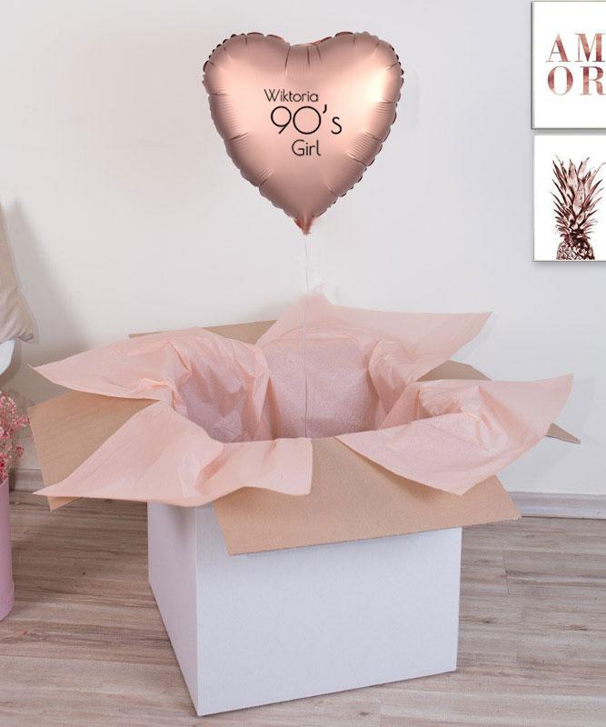 Balon serce różowe złoto z helem na prezent – 90's Girl