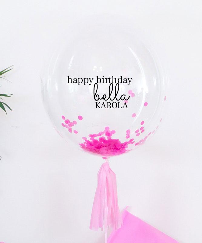 Balon kula z różowym konfetti – Happy Birthday Bella + imię