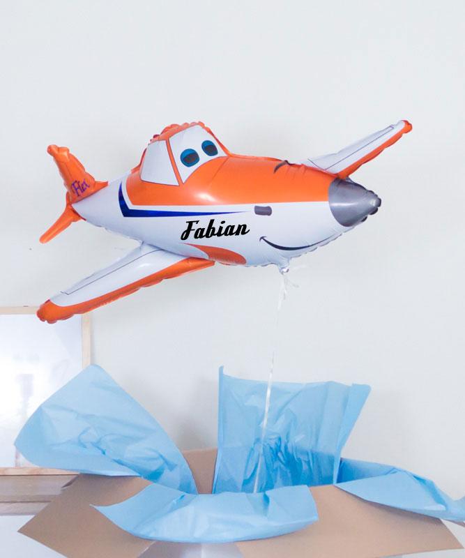 Balony z helem samolot Dusty na prezent+ imię
