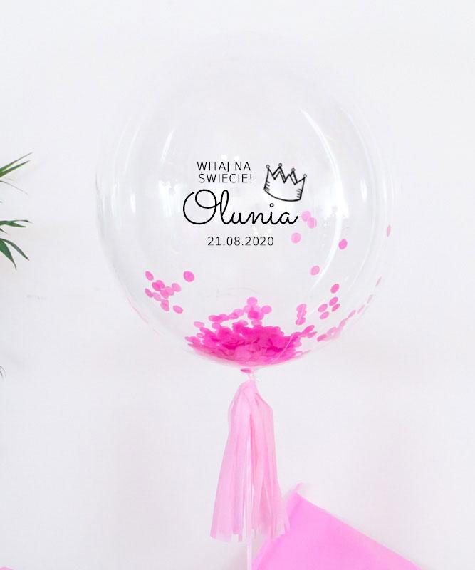 Balon kula z helem i konfetti dla dziewczynki – Pierwsze powitanie