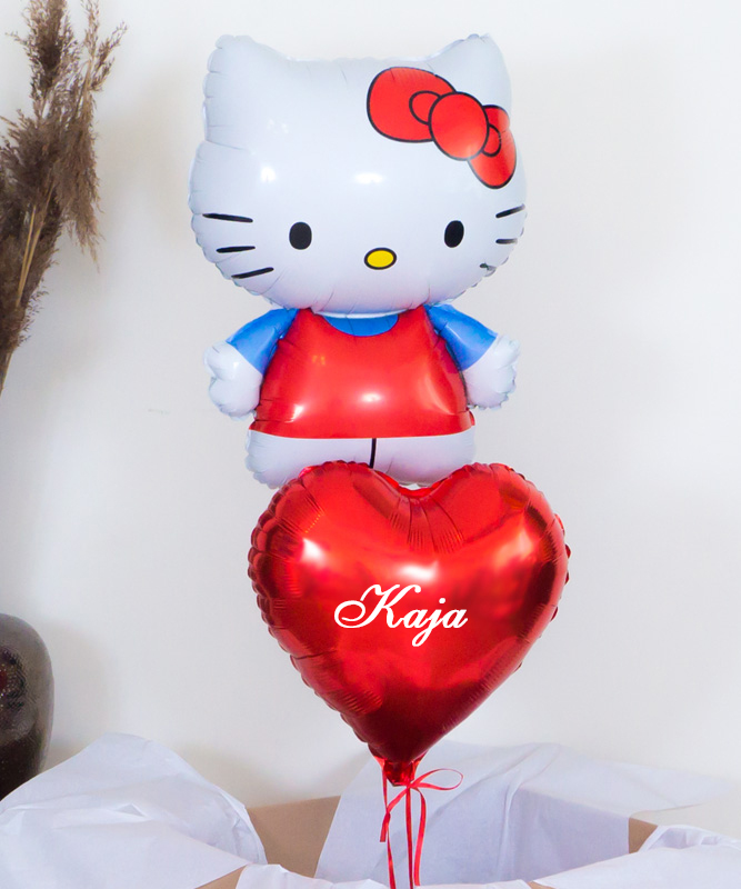 Balony z helem Hello Kitty z imieniem dziecka